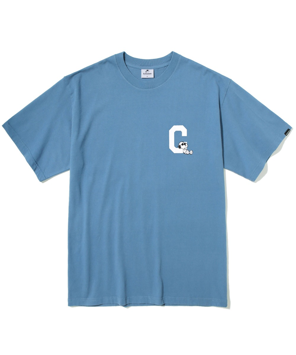 CXPEANUTS 70th C LOGO TEE DUSTY BLUE